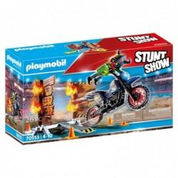 Playmobil 70553 Stuntshow Moto con muro de fuego Stuntshow