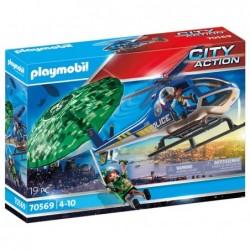 Playmobil 70569 Helicóptero de Policía: persecución en paracaídas City Action