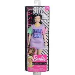 Barbie Fashionista Muñeca con pelo moreno vestido morado Unicorn Believer