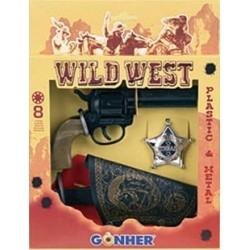 Revolver Oeste con funda insignia de cheriff 8 tiros Gonher