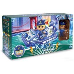 Pinypon Action - Lancha de policía con 1 Figura Famosa