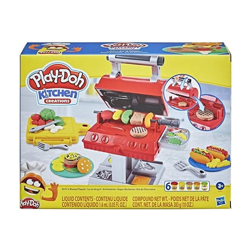 Play-Doh Kitchen Creations Grill 'n Stamp Juego para niños de 3 años en adelante con 6 Colore