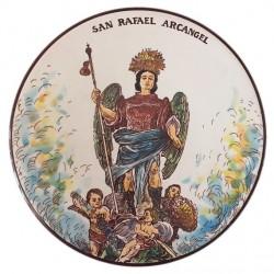 Plato decorativo Arcangel San Rafael 27cm diámetro preparado para colgar