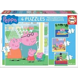 Peppa Pig 4 puzzles progresivos 6-9-12-16 piezas Educa Borras