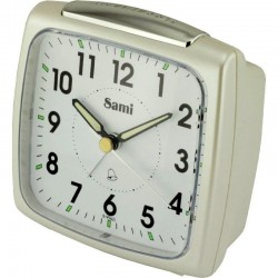 Despertador Sami Plata oscuro Sonido campana sistema Snooze y luz 10x10x5cm B9962L