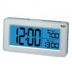 Despertador Sami Plata digital 2 alarmas luz led azul digitos XL calendario 12x7x3cm
