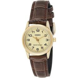 Casio LTPV001GL-9B Reloj para Mujer Caja dorada y correa de piel marrón