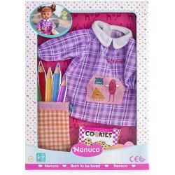 Ropa Nenuco para muñecos Nenuco talla S ropa de colegio camisón baby, saco de lápices y cajita de galletas