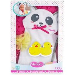 Ropa Nenuco para muñecos Nenuco talla S toalla capa de baño osito con esponja amarilla
