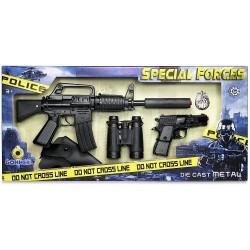 Juguete Fuerzas especiales fusil pistola con funda prismáticos y placa de policía Gonher Fabricado en España