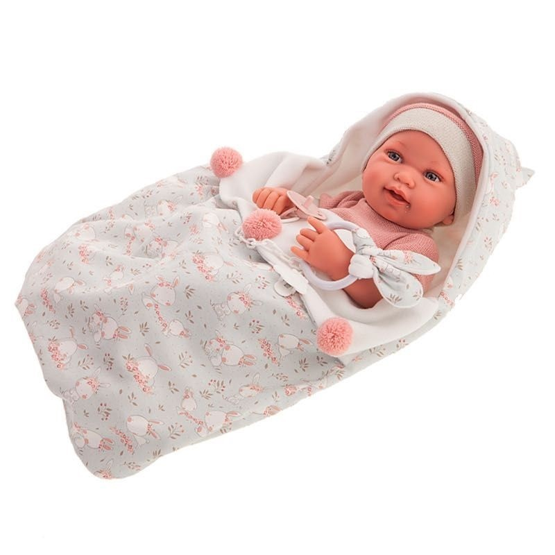Muñeca Antonio Juan 50159 recién nacida Pipa Saco Conejitos con expresión facial real