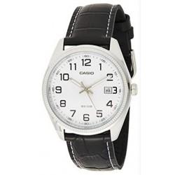 CASIO Reloj analógico MTP-1302L-7B con calendario esfera blanca correa negra caballero