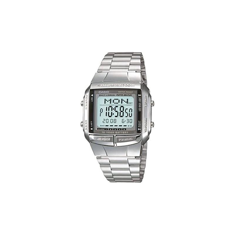 Reloj de Pulsera CASIO DB-360 Digital para Unisex Color Plateado Correa Acero inoxidable