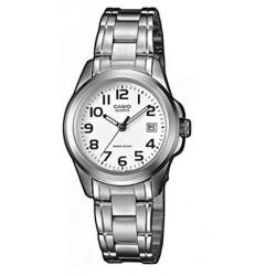 Reloj Casio señora LTP-1259PD-7B correilla plateada efera blanca con calendario
