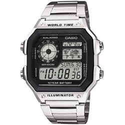 Reloj de Pulsera CASIO AE-1200WHD-1AV Digital para Hombre Color Plateado Correa Acero inoxidable