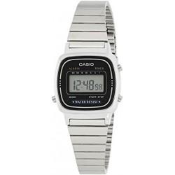 Reloj de Pulsera CASIO LA-670WA-1D Digital para Mujer Color Plateado Correa Acero inoxidable cromado