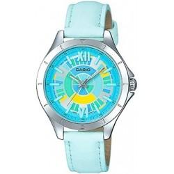 Reloj Casio para mujer LTP-E129L-2A plateado esfera color blanca