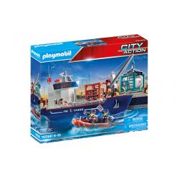Playmobil 70769 Gran Buque Portacontenedores con Barco Aduanero
