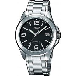 Reloj Casio señora LTP-1259PD-1A correilla plateada efera negra con calendario