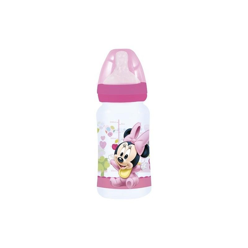 Biberón Minnie Mouse cuello ancho 240 ml tetina silicona 3 posiciones libres de BPA
