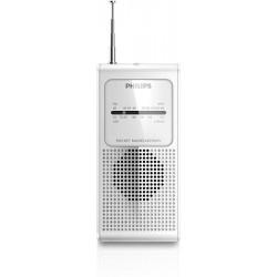 Radio transistor Philips AE1500 color blanco antena telescópica FM/AM con altavoz y toma auricular