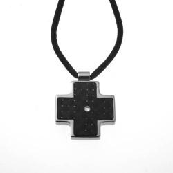 Colgante de acero cruz fondo negro mod.CLK-70