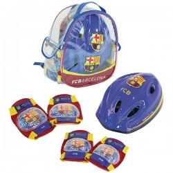 Mochila con casco rodilleras y coderas del FC Barcelona