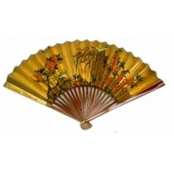 Abanico chino con pie de madera