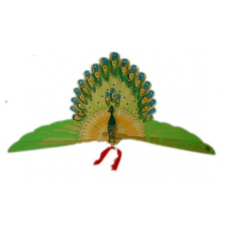 Abanico forma pavo real pintado