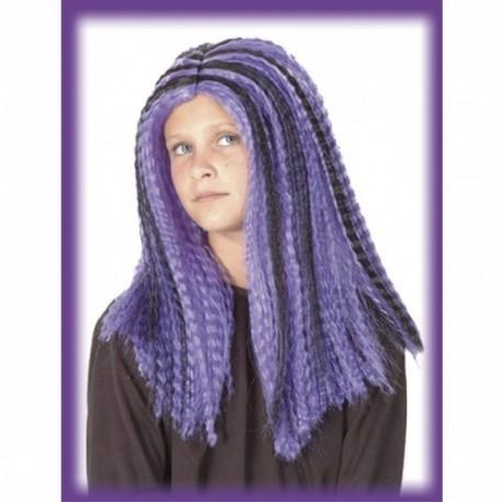 Peluca para disfraz bruja morado-negro