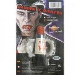 Sangre y dientes de vampiro para disfraz